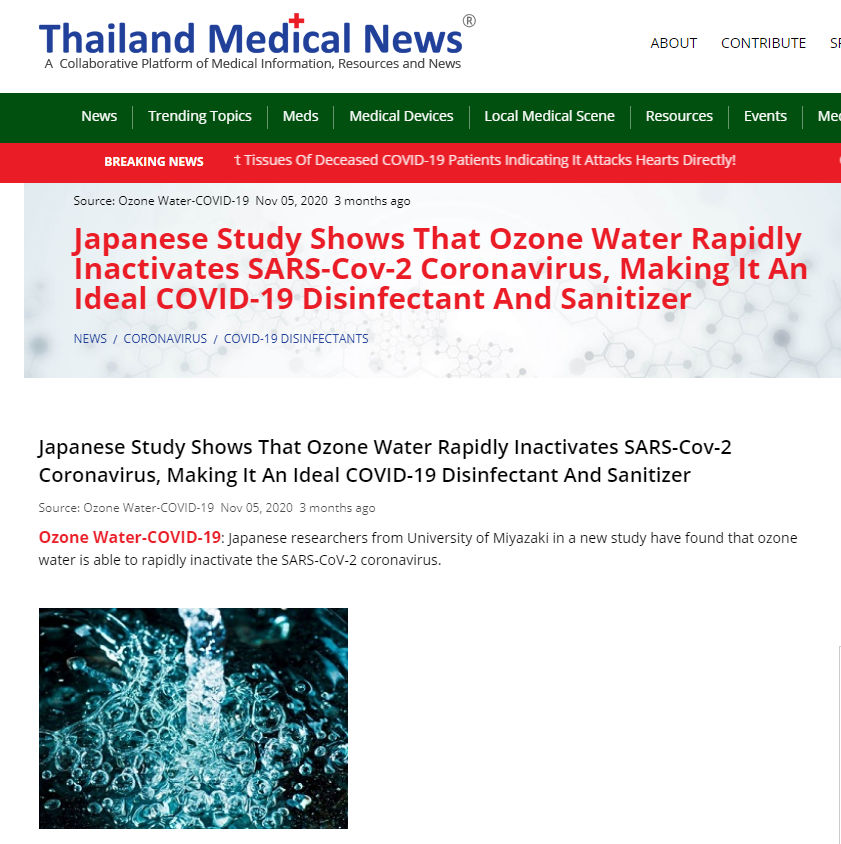 Japanese Study Shows That Ozone Water Rapidly Inactivates SARS-Cov-2 Coronavirus, Making It An Ideal COVID-19 Disinfectant And Sanitizer